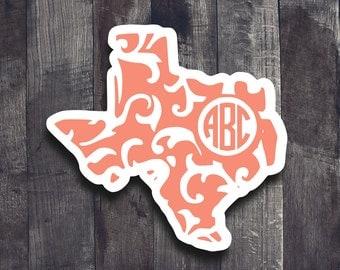 Monogram Texas Decal| Monogram State Decal| Paisley Print Texas| Texas Decal| Texas Yeti Decal| Texas Car Window Decal