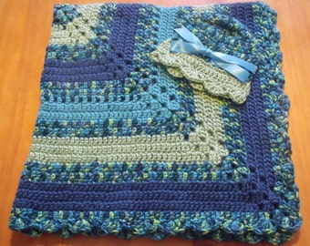 "NEW Handmade Crochet 29"" Baby Blanket and Hat/Beanie Set - Blue & Green Variegated - A Wonderful Baby Shower Gift!! - SEE NOTE!"