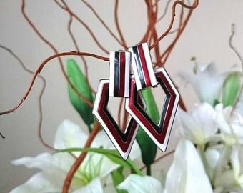 Vintage Earrings Enamel Retro Clip On Earrings Silver Tone Triangle Cloisonne Geometric Earrings  Reo Costume Jewellery jewelry
