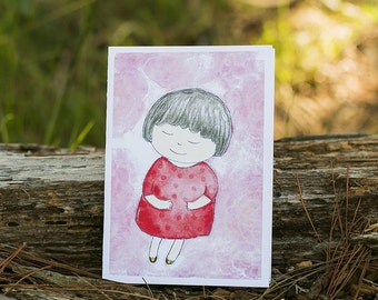 Love is like a soft pink cloud // Original Watercolour Art card // Greeting card // Notecard // Blank inside // Recycled paper envelope