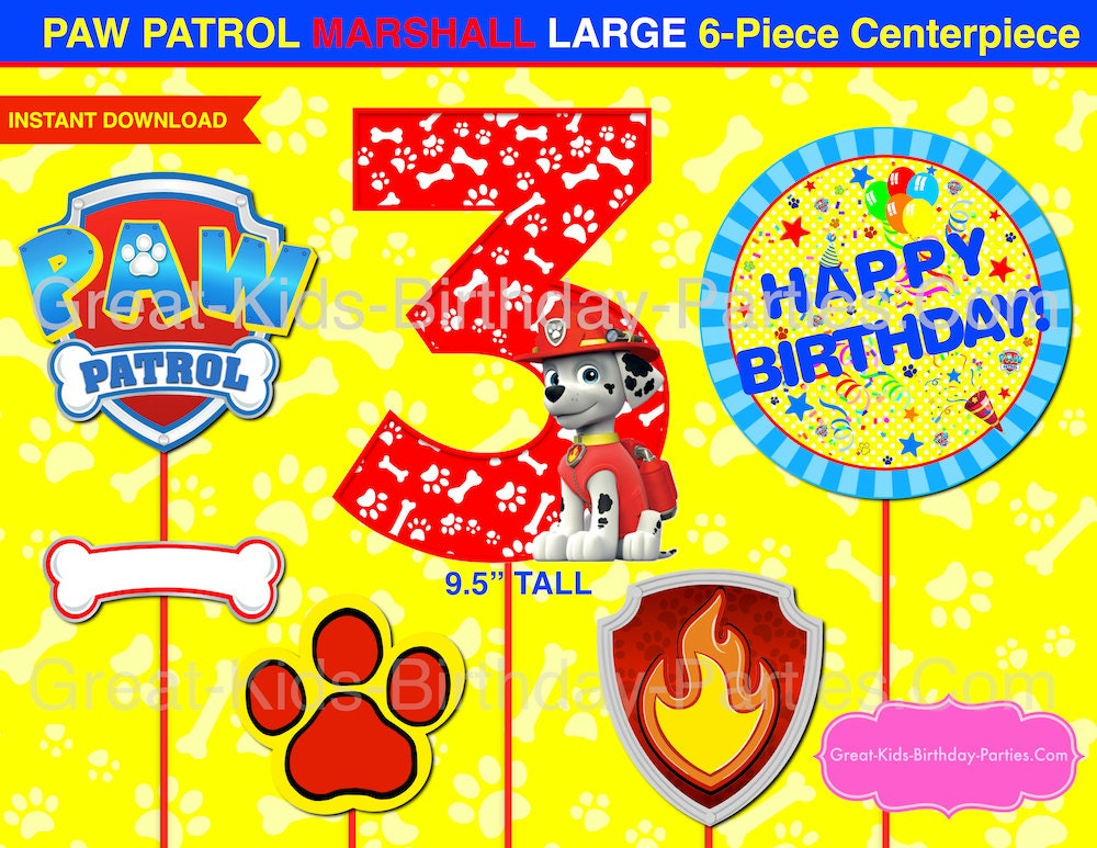 Paw patrol centerpiece number 3 marshall paw patrol printable for Number 3 decorations