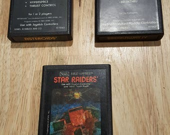 Atari 2600 Tele-Games Bundle - Breakaway, Asteroids, Star Raiders Original Atari Sears! Retro video game Cartridges! Rare