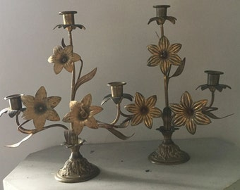 SALE Church or Chapel antique french Altar Candelabra - French Solid Brass Candleholder, French Shabby