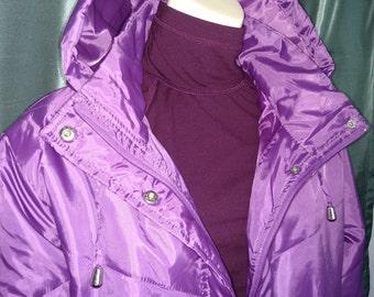 25% Off Size 1X Women Coat/Women Puffer/ Purpul Winter Coat/Lightweight Plus Size Coat/Hooded Winter Coat/Zip Up Womens Coat/Item Nr.169