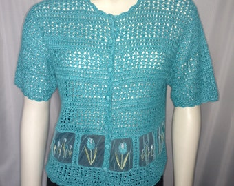 Summer Crochet Top/Turquoise Cardigan/ Size L Croshet Top/Short Sleeve Croshet Cardigan/Vintage Cardigan/Gift For Her/ Nr.226