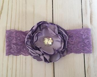 Lilac flower headband, lace baby headband, purple flower headband