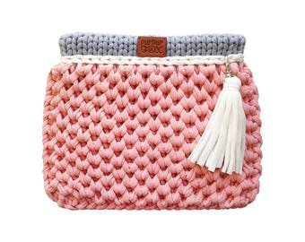 "Knit Bag ""Favi mini"" / Pink & Gray knitted bag / Crossbody / Handbag / Crochet bag / Purses and Handbags / Everyday Handbag"