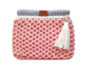 "Knit Bag ""Favi mini"" / Pink & Gray knitted bag / Crossbody / Handbag / Crochet bag / Purses and Handbags / Everyday Handbag"