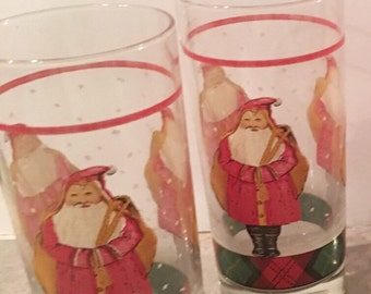 "2 Vintage  Block ""Father Christmas"" by  Gear - made in USA 1995 decorated drinking glasses for the Holidays"