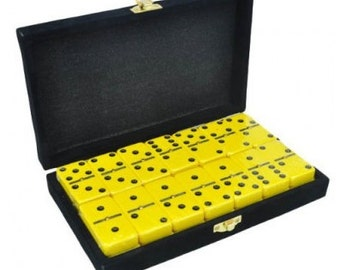 Yellow Dominoes in Velvet Box with Spinner
