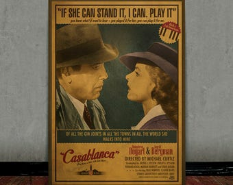 Casablanca, Bogard, Colored retro classic movie poster