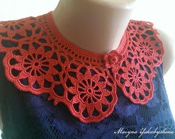 Red collar necklace Crochet collar Crochet collar necklace Crochet jewelry Gift for gift Lace collar red Crochet necklace Woman accessories