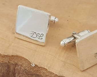 Monogram cufflinks gift for men personalised gift for husband sterling silver handmade cufflinks with initials