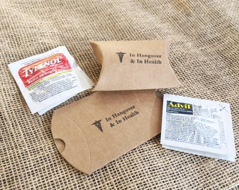 5 COMPLETE Hangover Kits including Tylenol and Advil in Kraft Paper Pillow Box/ Favor Box/ Wedding Hangover Kit/ Wedding Favors/ Kraft Boxes