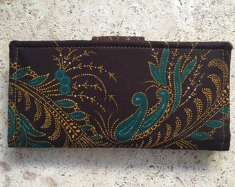 Ankara Bi-Fold Wallet - Womens Wallet  - Tribal Cellphone Wallet - Brown Ankara Wallet - Ankara Wallet - Brown and Green Wallet - Tribal