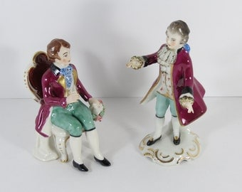 Frankenthal Porcelain Gentleman Figurines From Rhineland-Palatinate, Germany