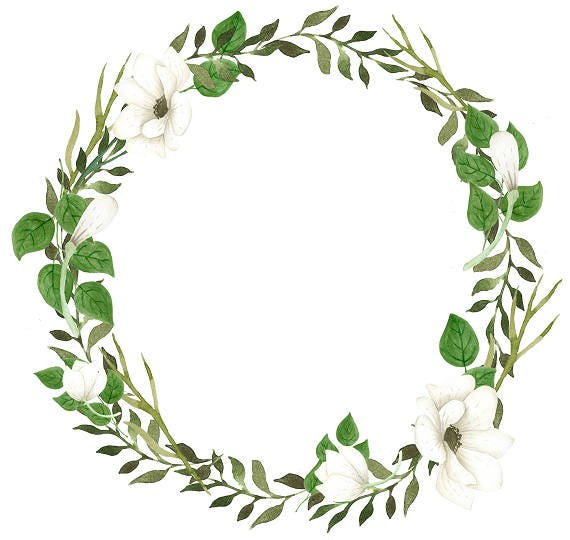 Green Wreath Clipart White Flowers Watercolor Wreath