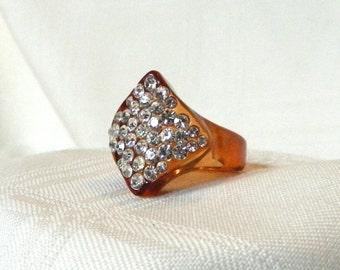 Vintage Retro Acrylic Plastic Rhinestone Encrusted Ring