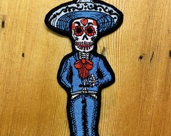 Day of the dead, groom skeleton, embroidered sew on patch