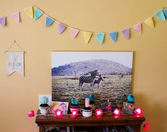 Crochet Bunting in Pastel Colours