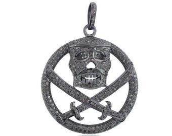 Pave Diamond 925 Sterling Silver Skull Sword Pendant Jewelry