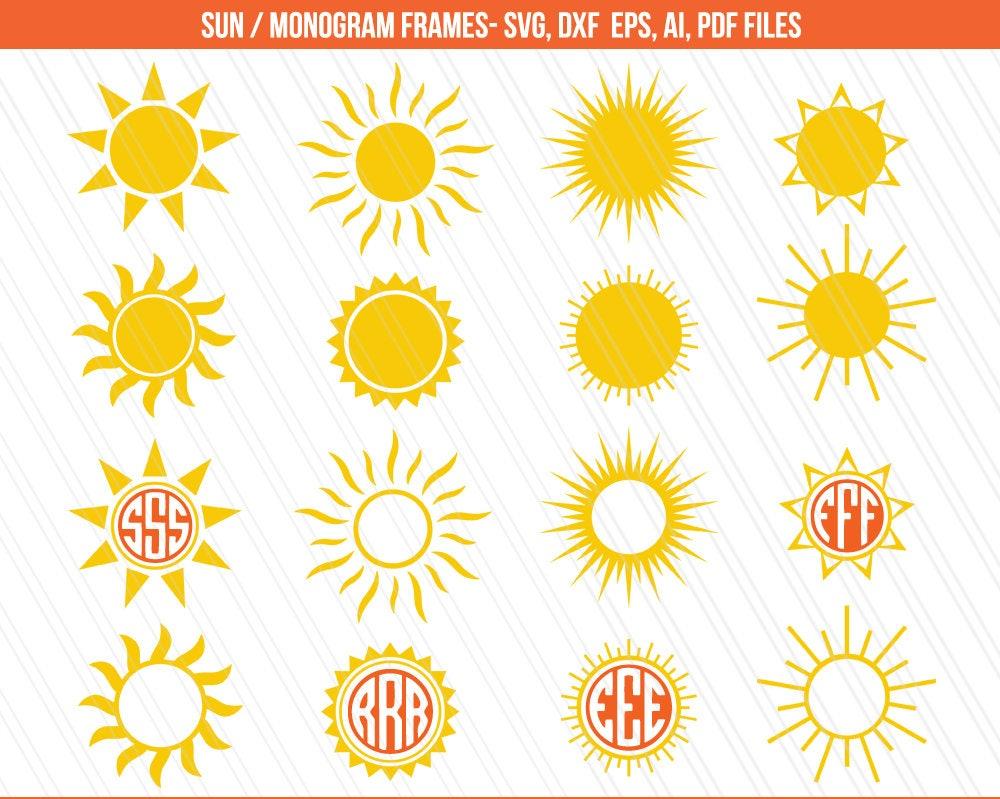 sun svg  sun monogram  summer svg  sunlight svg  cricut  svg monogram frames