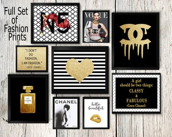 Coco Chanel print set, Coco Chanel wall art, Coco Chanel perfume, gold posters, Coco chanel quotes, fashion print, cc No5, lips, make up