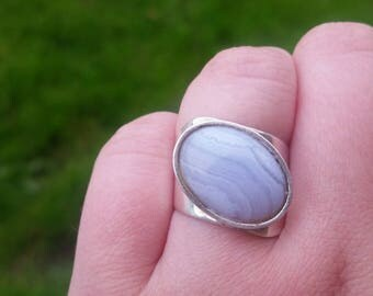Vintage Sterling Silver Blue Lace Agate Ring