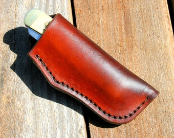 "Custom Leather Knife Sheath for 4"" Trapper"