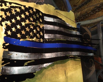 Thin blue line tattered metal flag 36""