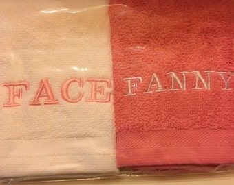 Novelty Face/Fanny Embroidered Face Cloth Set **Ideal Gift**