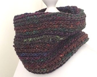 Crochet Cowl / Infinity Scarf / Noro Cowl / Cowl Scarf. Purple and Multi-coloured Cowl