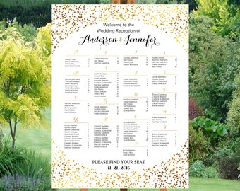 PRINTABLE Wedding seating chart alphabetical, Gold Dots Confetti Wedding Seating Chart Template,Table plans seating assignment | PY48