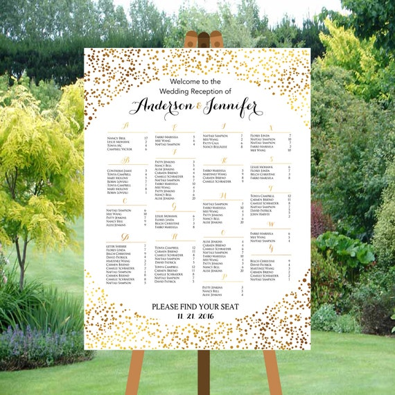 printable wedding seating chart alphabetical gold dots