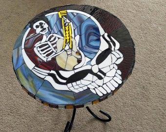 "Grateful Dead Table-Steal your Face-17 1/2""-Grateful Dead-Mosaic Tables-Grateful Dead Table-Jerry Garcia"