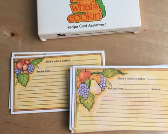 3 x 5 Recipe Cards - Here's What's Cookin - Fruit Kitchen - Kitchen Decor - Vintage Recipe Cards - Current Recipe Cards - 1970s Kitchen