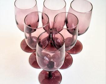 """Set of 6 Libbey Purple wine glasses/ 6"""" tall Wine Glasses"""