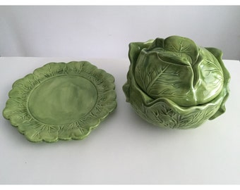 Vintage Holland Mold Cabbage Bowl and Plate, Cabbage Bowl, Cabbage Plate