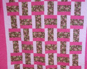 "Handmade Full Size Quilt, Pink Ribbons and Roses Quilt, Woven Block Quilt, Pink and Brown Quilt, Full Size Pink Ribbon Quilt 70"" x 79"""
