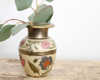 Brass and Hand Painted Vintage Vase // Brass Vase Wedding Decor