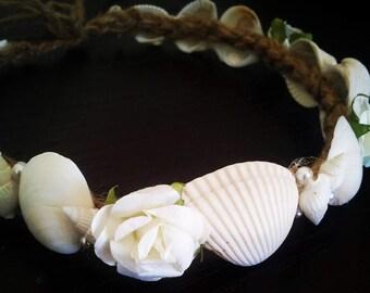 Seashell crown, Beach wedding hair accessories, Bridal headband, Seashell headband
