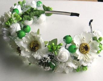 White Floral crown Flower headband Hair Vine Bridal headband  Flower crown Flower wreath Hair band Headwear Festival Garland Wedding circlet