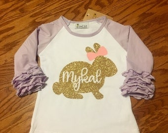 Personalized Easter lilac raglan ruffle t-shirt. Girls adorable bunny rabbit icing tee. Monogrammed pastel glitter rabbit with bow.