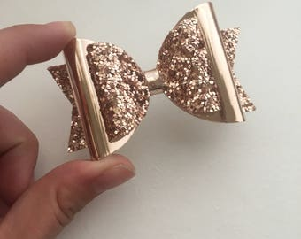 Rose Gold Glitter Bow, double layer hair clip, handmade girl/baby bow