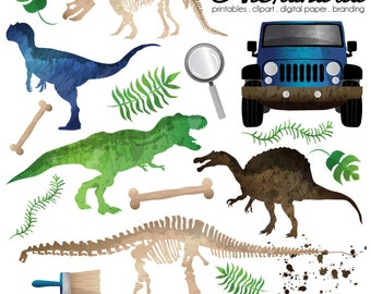 Jurassic Journey Digital Clipart - Personal & Commercial Use - Dinosaur Park Clipart, Boys Animal Graphics, Dino Fossil Birthday Images
