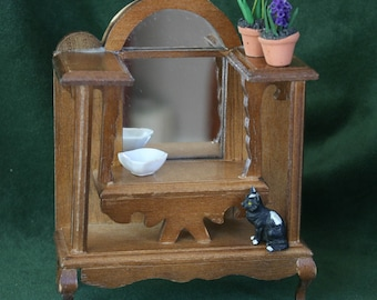 Miniature Wooden Mirrored Vanity Table, 1:12 Scale