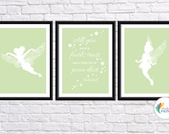 Download - Tinkerbell Printable - Set of 3 Soft Green Tinkerbell Fairy  Prints - Set of 3