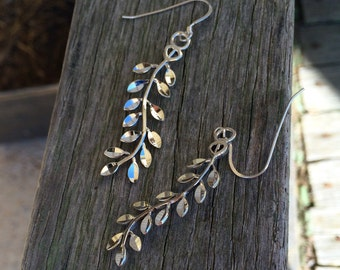 Faceted Sterling Silver Branch Earrings