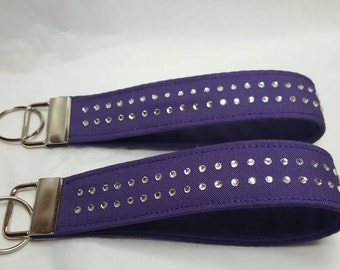 Purple fob with rhinestones key chain wristlet