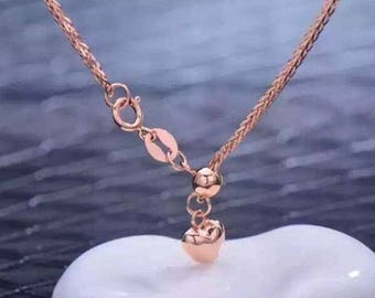 Adjustable 60cm Solid 18K Rose Gold Wheat Au750 Chain Necklace 170024